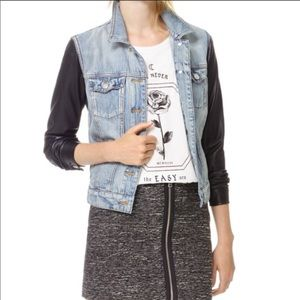 Aritzia Talula Jean Jacket w/Leather Sleeves